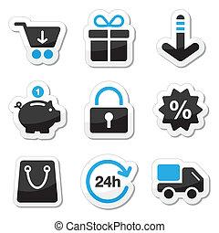 teia, jogo, shopping, ícones, -, /, internet