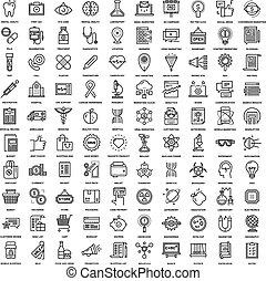 teia, linha, ícones