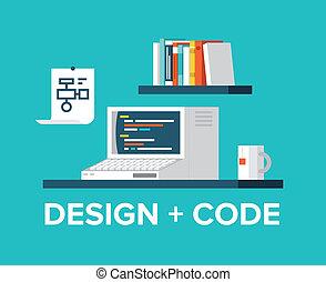 teia, programação, ilustração, computador, desenho, retro