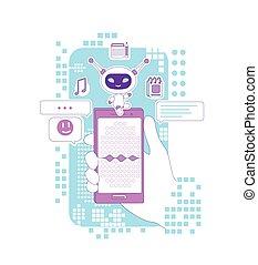 teia, smartphone, mão, criativo, caricatura, assistente, linha magra, segurando, recognition voz, vetorial, super, app, pessoal, idéia, illustration., chatbot, bot, 2d, conceito, software, design., personagem