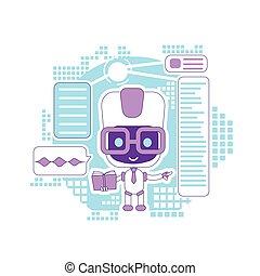 teia, sugestões, criativo, robô, caricatura, linha magra, dar, mercado de zurique, informational, aprendizagem, vetorial, apoio, idéia, tecnologia, illustration., bot, 2d, conceito, assistente, online, design., personagem