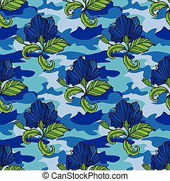 teia, trópico, flores tropicais, seu, clothing., camuflagem, seamless, camo, repetir, impressão, flor, vetorial, experiência., roupas, pattern., illustration., desenho
