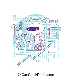 teia, verificar, fixing., bugs, criativo, robô, site web, caricatura, linha magra, monitorando, vetorial, estado, app, idéia, illustration., móvel, erros, bot, 2d, elaboração do relatório, conceito, software, design., personagem, sistema