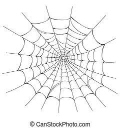 teia, vetorial, aranha, branca