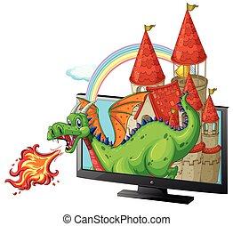 tela, castelo, dragão
