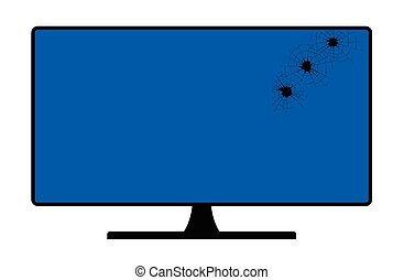tela, computador, buracos, bala