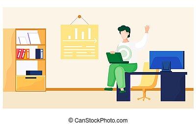 tela, seu, mão, homem negócios, homem, olhar, computer., laptop, levanta, trabalhando