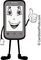 telefone, cima, célula, polegares