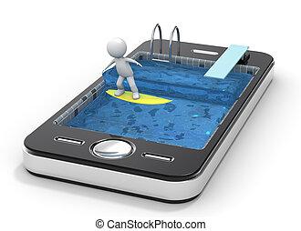 telefone móvel, surfando, seu