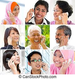 telefone., pessoas conversando