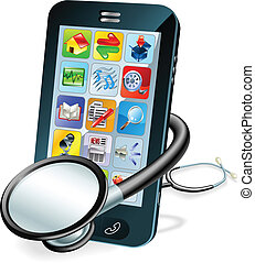 telefone pilha, conceito, cheque saúde