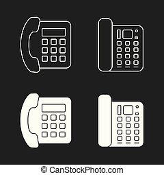 telefone, set., vetorial, ícones escritório