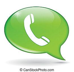 telefone, verde, bolha