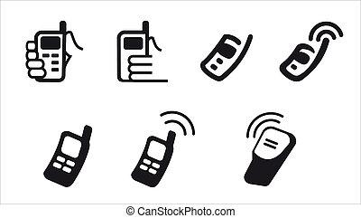 telefone, vetorial, ícones