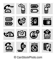 telefone, vetorial, jogo, ícones