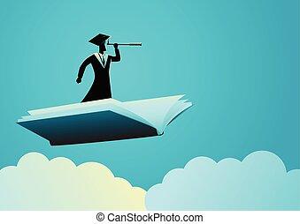 telescópio, voando, livro, usando, homem, toga