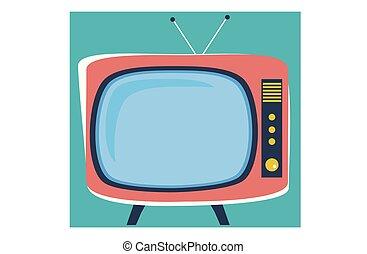televisão, estilo velho, caricatura