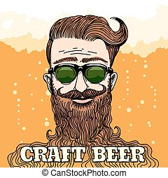 tema, cerveja, arte, hipster