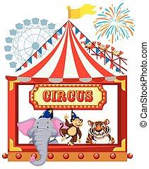 tema, circo, animais