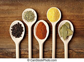 tempero, alimento, tempero, ingredientes
