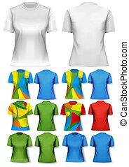 template., coloridos, abstratos, t-shirts., desenho, mulheres, vector.