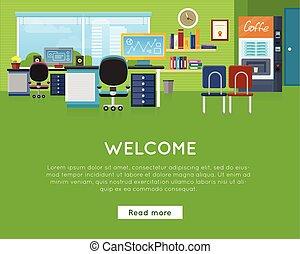 template., escritório, concept., site web, bem-vindo