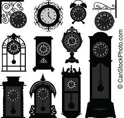 tempo, antigüidade velho, relógio, vindima