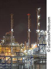 tempo, noturna, planta industrial