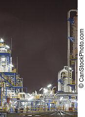 tempo, noturna, químico, planta industrial