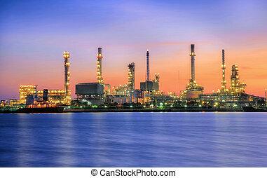tempo, petrochemical, noturna, planta