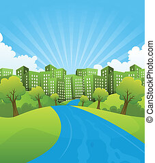 tempo verão, verde, cidade