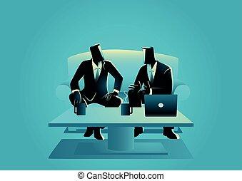 tendo, reunião, homens negócios, casual