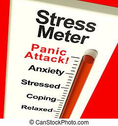 tensão, mostrando, pânico, medidor, ataque, ou, preocupação