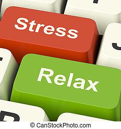 tensão, relaxe, teclas, trabalho, pressão, computador, online, ou, relaxamento, mostra