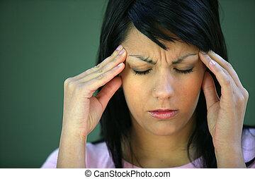 tensão, sofrimento, morena, dor de cabeça