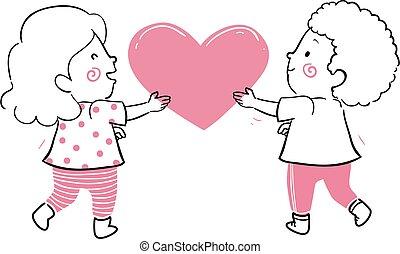 ter, crianças, coração, ilustração, junto