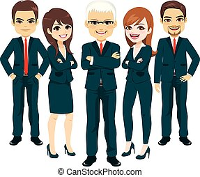 terno azul, equipe negócio