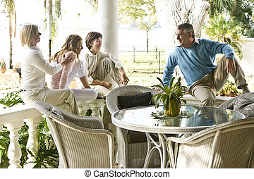 terraço, relaxante, junto, família