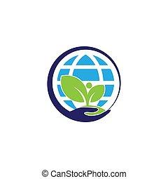 terra, árvore, círculo, ilustração, mão, mundo, cofre