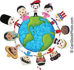 terra, multicultural, crianças