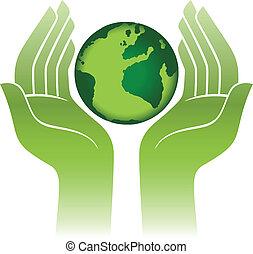 terra planeta, mãos