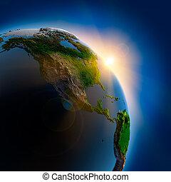 terra, sobre, exterior, amanhecer, espaço