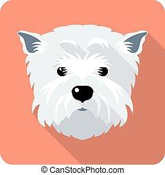 terrier, oeste, altiplano, ícone, desenho, apartamento, cão, branca