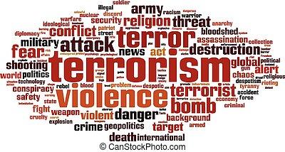 terrorismo, palavra, nuvem