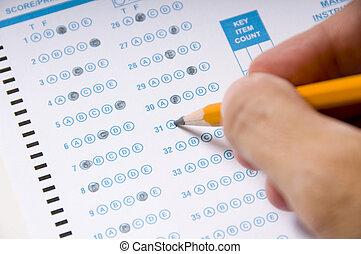 teste, ou, levando, exame