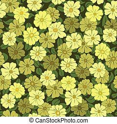 teste padrão flor, seamless, campo amarelo, fundo