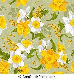 teste padrão flor, -, seamless, narcisos silvestres, retro