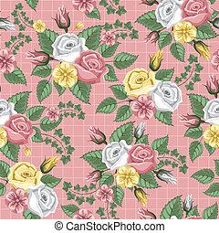 teste padrão flor, -, seamless, rosas, retro
