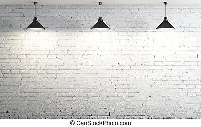teto, três, lâmpada