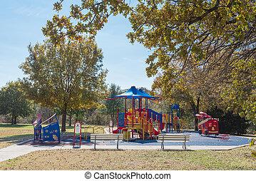 texas, foliage, outono, coloridos, bancos, flor, vista traseira, vazio, eua, montículo, pátio recreio, olhar, dois